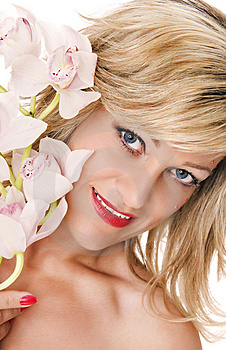 Woman With Orchid Royalty Free Stock Photos - Image: 9542588