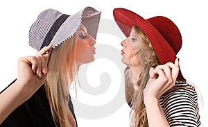 Kissing Similar Blonde Sister Isolated Royalty Free Stock Images - Image: 9543709