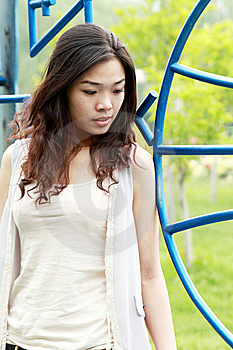 Asian Girl Outdoors. Royalty Free Stock Photo - Image: 9545885