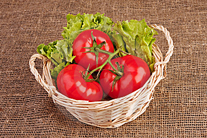 Tomatoes And Lettuce In Basket Stock Photography - Image: 9545912