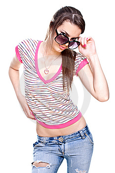 Woman In A Pink Shirt With The Glasses Stock Images - Image: 9546284