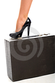 Graceful Female Leg On Attache Case Royalty Free Stock Images - Image: 9549419
