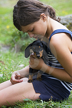 Girl With Dog Royalty Free Stock Images - Image: 9556209