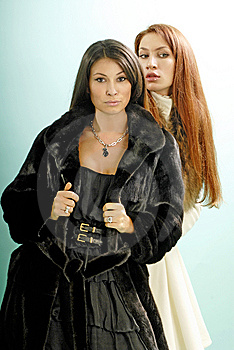 Two Young Women In Fur Coats Stock Photography - Image: 9565362