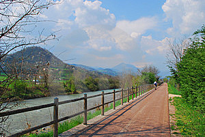Bicycle Path Along Small River. Royalty Free Stock Photography - Image: 9570137