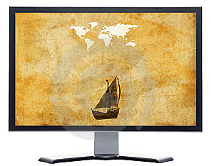 Monitor With Old World Map On Grunge Retro Paper Royalty Free Stock Photo - Image: 9571235