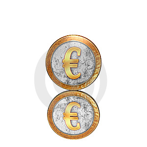 Golden Coin With Reflectoin On Mirror Stock Photos - Image: 9571253