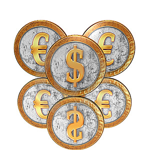 Golden Coin With Reflection On Mirror Stock Photo - Image: 9571270