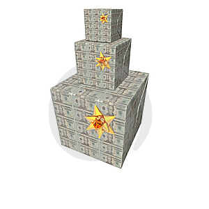 Gifts Box Pyramid With Us Dollar Note Texture Royalty Free Stock Images - Image: 9571449