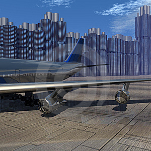 Airliner With A Blue Sky Royalty Free Stock Images - Image: 9571719