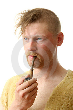 Smokes A Tube Stock Photo - Image: 9572480