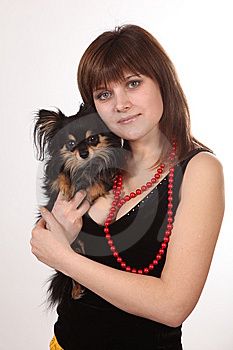 The Girl And Doggy Royalty Free Stock Photo - Image: 9573455