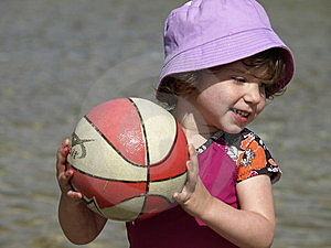 Little Girl Playing Ball. Stock Images - Image: 9574844