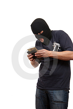Robber Counts Money From Stolen Wallet. Royalty Free Stock Images - Image: 9576769