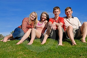 Family on grass Stock Image