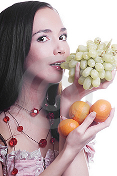 Girl With Fruit Stock Photos - Image: 9583763