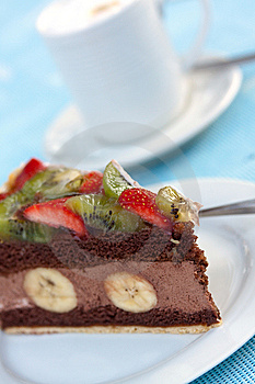 Gourmet- Chocolate Mousse-Cream Pie With Fruits Stock Image - Image: 9586261