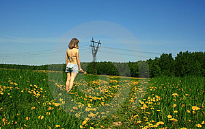 Girl And Dandelions Royalty Free Stock Images - Image: 9592199