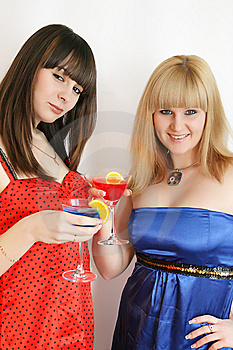 Two Pretty Friends With Cocktail Royalty Free Stock Images - Image: 9592589
