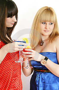 Two Pretty Friends With Cocktail Stock Images - Image: 9592594