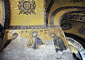 Mosaic Of Jesus Christ In Church Of Hagia Sofia Royalty Free Stock Photography - Image: 9593067
