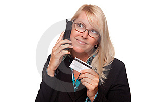 Beautiful Blonde Woman With Phone And Credit Card Stock Image - Image: 9594751