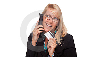 Beautiful Blonde Woman With Phone And Credit Card Royalty Free Stock Image - Image: 9594756
