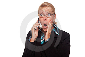 Blonde Woman Shocked On Cell Phone Stock Photo - Image: 9594760