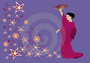 Beautiful Woman In Kimono Stock Images - Image: 9597034