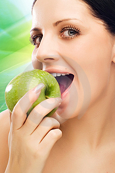 Young Woman Eating Apple Royalty Free Stock Photography - Image: 9597057