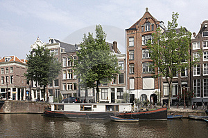 Canal Scene With Houseboat, Amsterdam Royalty Free Stock Photos - Image: 9597428