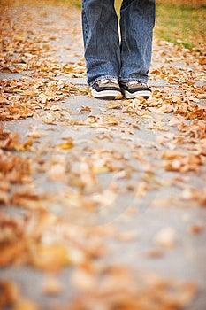 Shoes on sidewalk Stock Image
