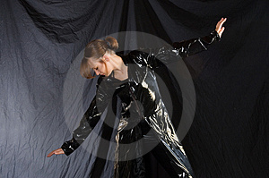Dancer In Black Vinyl Royalty Free Stock Photo - Image: 967885