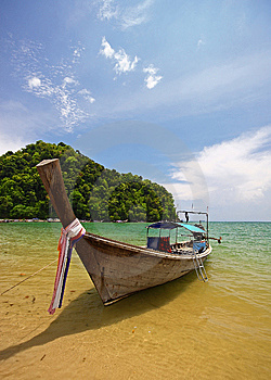Longboat On Beach Stock Photos - Image: 9600513