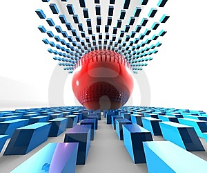 Red Ball  Blue Cubes Stock Photography - Image: 9604452
