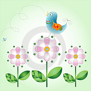 Bird On Flowers Royalty Free Stock Photos - Image: 9605428
