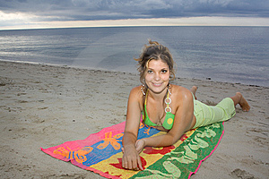 Beautiful Lady Smiling In The Beach (II) Royalty Free Stock Image - Image: 9608196