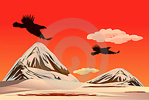 The Eagles Fly Over The Snow Mountain Royalty Free Stock Photos - Image: 9608388