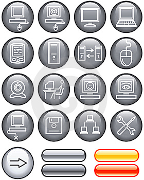Web Icons Set - Hardware (Vector) Royalty Free Stock Photography - Image: 9609227