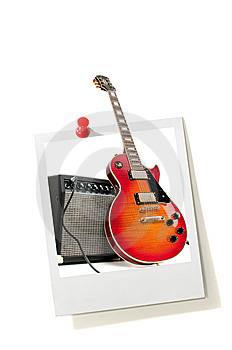 Instant Photo Print And Electric Guitar Stock Image - Image: 9610461