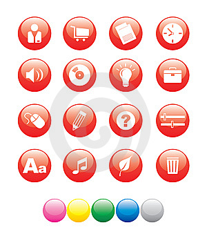 Icon_red_ball02 Stock Photography - Image: 9614982
