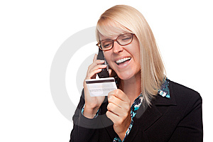 Beautiful Blonde Woman With Phone And Credit Card Stock Photography - Image: 9615442
