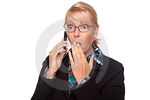 Shocked Blonde Woman On Cell Phone Stock Photography - Image: 9615452