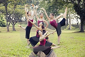 Portrait Of Asian Ballet Dancers Outdoor Royalty Free Stock Photos - Image: 9617738