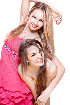 Two Beautiful Women In A Colored Dress Royalty Free Stock Photos - Image: 9618438