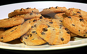 Plate Of Choc Chip Cookies Stock Photo - Image: 9619580