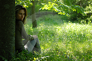 Young Woman Sitting Royalty Free Stock Photography - Image: 9620667