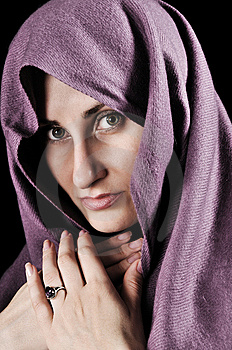 Woman With A Shawl Royalty Free Stock Photography - Image: 9621217