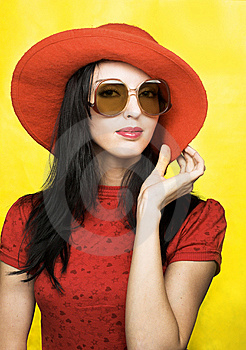 Vintage Woman In Sunglasses And Red Hat Royalty Free Stock Photography - Image: 9621847