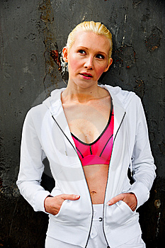 Blond Womanwearing White Tracksuit Stock Images - Image: 9623014